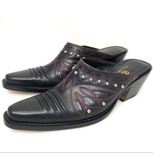 Cole Haan Black &red all leather western mules SZ8